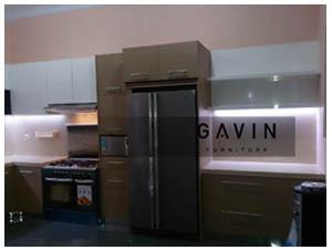 Kitchen Set Dengan HPL Glossy Putih Coklat