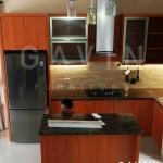 harga kitchen set minimalis hpl coklat