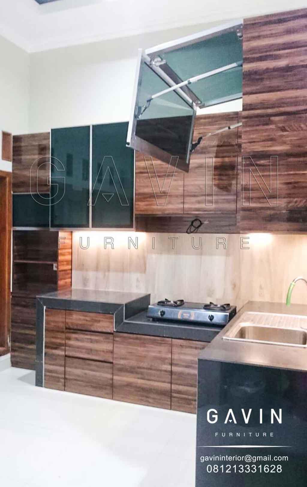 Pembuatan Lemari Dapur Minimalis Warna Coklat Dan Hitam Q2958