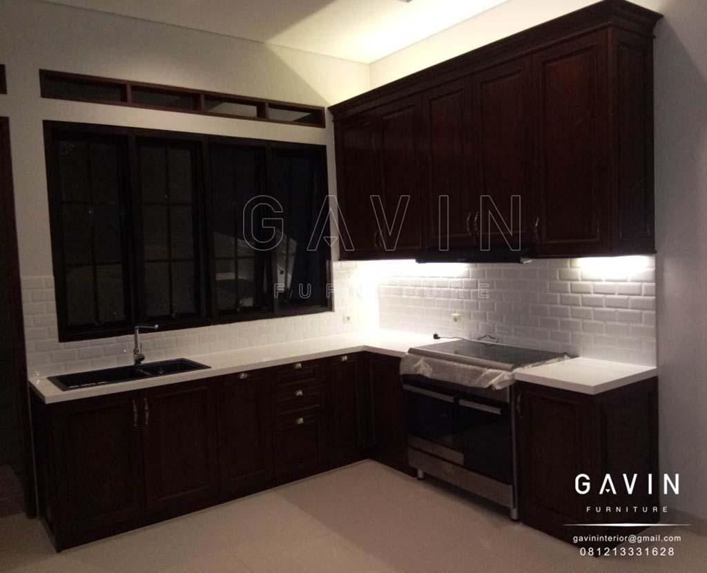 contoh kabinet dapur kotor minimalis bahan jati finishing melamik project di ragunan Q2787