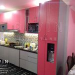 design kitchen set minimalis warna pink finishing HPL TH 018 AA bright pink