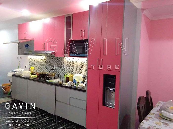 Design Kitchen Set Minimalis Warna Pink Finishing Hpl Th 018 Aa
