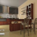 model kitchen set minimalis dengan mini bar klien ciracas