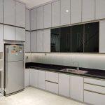 model kitchen set minimalis modern finishing hpl putih glossy