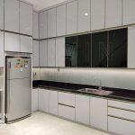 model kitchen set minimalis modern finishing hpl putih glossy