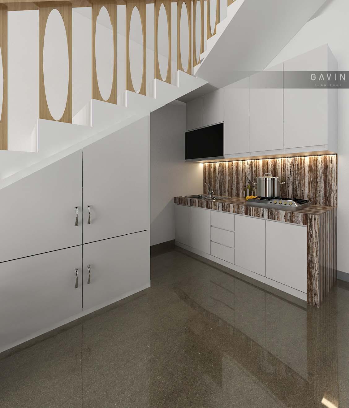 Proses Desain Model Kitchen Set Bawah Tangga