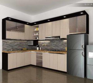 contoh desain 3D kitchen set HPL di kemanggisan