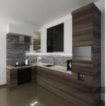 design kitchen set minimalis dengan kombinasi hpl