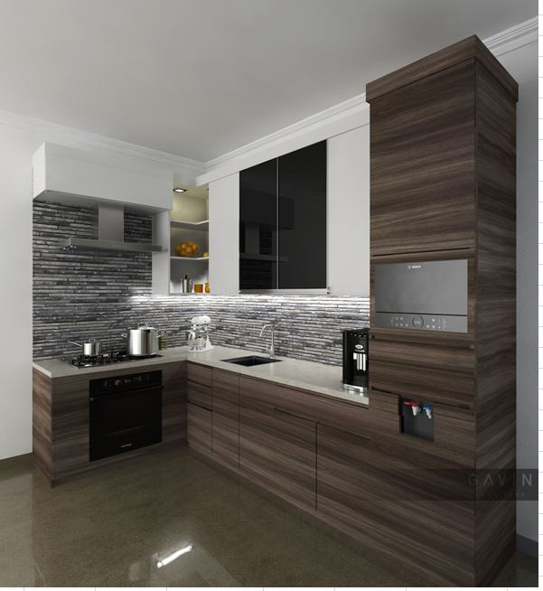design kitchen set minimalis dengan kombinasi hpl