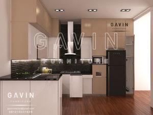 jual kitchen set minimalis dengan kabinet kulkas Q2582