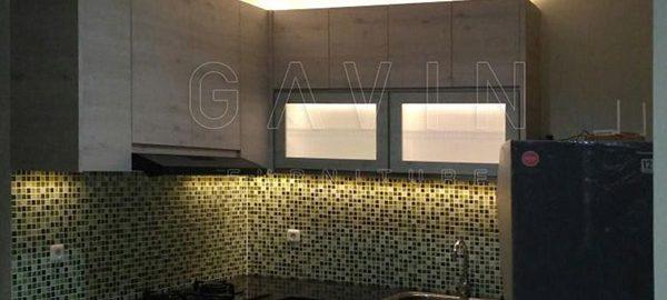 jual kitchen set minimalis modern finishing hpl kombinasi kaca es Q2706