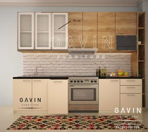 desain kitchen set minimalis serat kayu finishing hpl Q2668