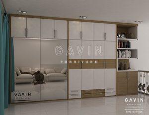 desain model lemari pakaian sliding minimalis kombinasi cermin Q2643