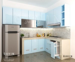 design kitchen set duco biru by gavin furniture Q2726