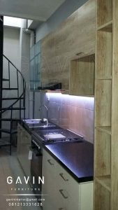 jual kitchen set minimalis finishing hpl kayu di cempaka putih Q2668