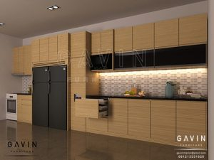 desain 3D kitchen set minimalis modern finishing hpl Q2793