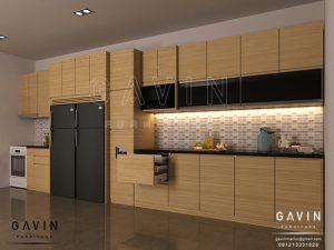 desain 3D kitchen set minimalis modern finishing hpl Q2793