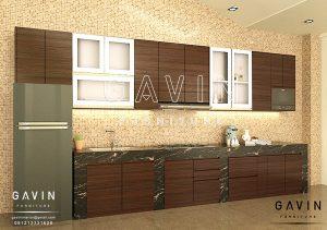 desain kitchen set hpl merah kecoklatan di kota bambu Q2805