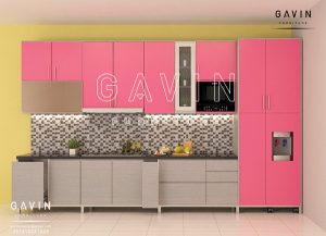 jual kitchen set hpl pink kombinasi warna di depok Q2652