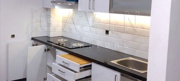 jual kitchen set minimalis modern finishing HPL supreme 2219 glossy project kelapa gading Q2774