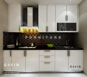 pembuatan design kitchen minimalis modern hpl glossy putih Q2774