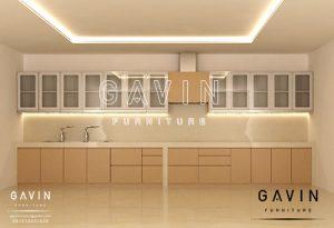 pembuatan design kitchen set minimalis kombinasi kaca project di bogor Q2751