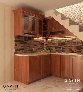 kitchen set klasik kayu jati desain custom di Pulo Gebang Q2748