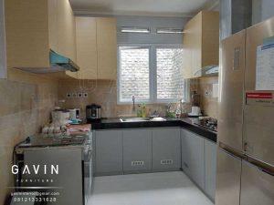 bikin kitchen set kotor model minimalis letter u kombinasi hpl project pejompongan Q2906
