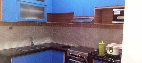 contoh kitchen set hpl biru design minimalis by Gavin Q2857