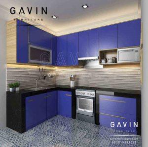 contoh kitchen set hpl biru minimalis kombinasi hpl di kreo Q2857