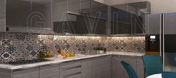 kabinet dapur pintu kaca design minimalis modern di priok Q2867