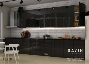 Buat Kitchen Set Minimalis Finishing HPL Hitam Kombinasi Cermin Hitam di Cipulir Q2983