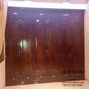 lemari baju kayu jati finishing melamik project di Ragunan Q2952