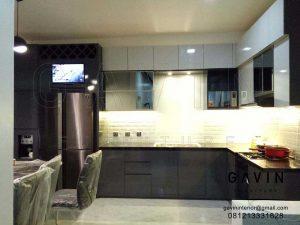 bikin kitchen set minimalis modern finishing HPL supreme dark grey Q2976