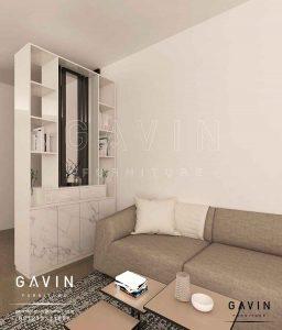 design partisi minimalis ruang tamu project Taman Palem Q3025