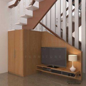backdrop tv bawah tangga minimalis di kedoya Q3083