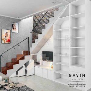 design lemari di bawah tangga dengan backdrop tv by Gavin Q2776