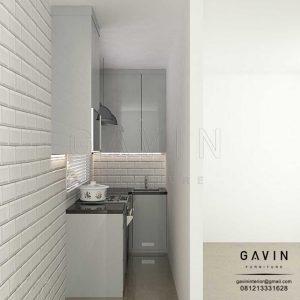 design lemari dapur sempit project bintaro Q3064