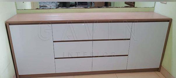 buat credenza tv minimalis finishing HPL motif kayu di Pekayon Q3307