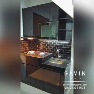 lemari dapur bawah tangga minimalis hitam glossy project joglo Q3228