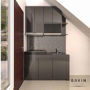 lemari dapur hitam di bawah tangga project joglo by Gavin Q3228