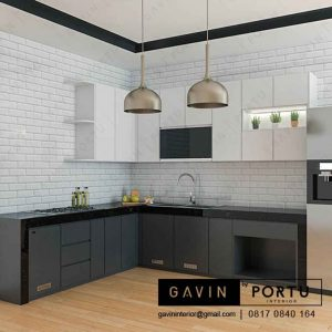 design kitchen set dan meja makan letter L warna hitam putih id3194