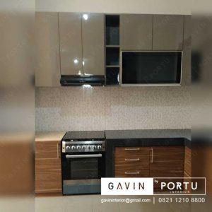 gambar kitchen set hpl glossy warna mocca minimalis modern di Duri Kepa Kebon Jeruk id3232