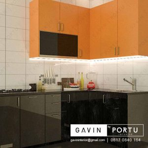 contoh kitchen set mini kombinasi warna kuning hitam project di Greenlake id3252