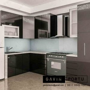 design kitchen set bahan anti rayap finishing cat duco hitam di Joglo id3230