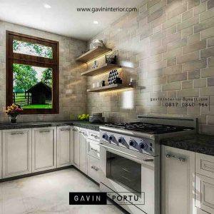 contoh design kabinet dapur bawah semi klasik letter L project di Bintaro by Gavin id3359
