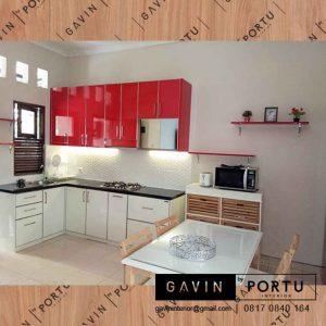 buat lemari dapur kotor warna merah putih design minimalis project Depok id3280