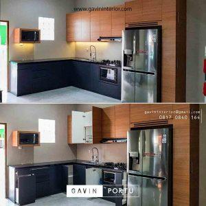 contoh cabinet kitchen set warna coklat kombinasi grey project Bekasi id3485