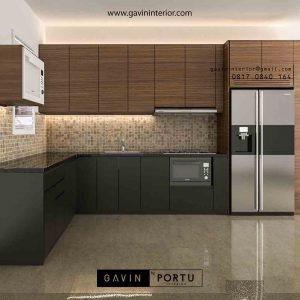 design cabinet kitchen set minimalis modern letter L di Bekasi id3485