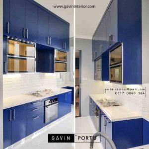model kitchen set dapur basah minimalis biru glossy di Pondok Indah id3286